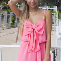 Bow Flared Romper - Neon Pink - Colors of Aurora