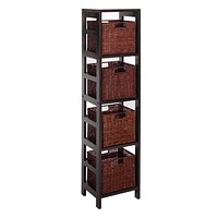 Winsome Woods Leo 5pc Storage Shelf with Four Basket Set
