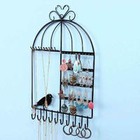 Wall-mounted Stand Holder Rack Jewelry Earring Necklace Bracelet Display Metal