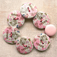 Pink Paris Wooden Button Bracelet - Large