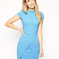 ASOS | ASOS Textured High Neck Assymetric Mini Dress at ASOS