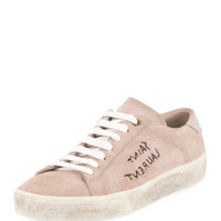 Saint Laurent Court Classic Logo-Writing Suede Low-Top Sneaker