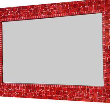 Red Mosaic Mirror
