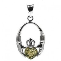 Green Amber and Sterling Silver Claddagh Celtic Irish Pendant