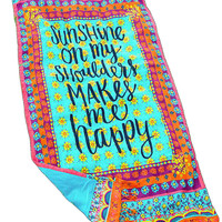 """Sunshine On My Shoulders Makes Me Happy"" Print Beach Towel"
