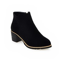 Pointed Toe Suede Ankle Boots Zipper Thick Heel Women Shoes 76109414
