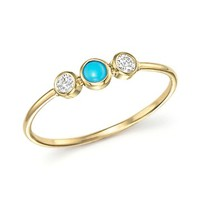 Zoë Chicco14K Yellow Gold Bezel Set Ring with Turquoise and Diamonds
