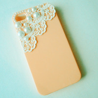 Pink lace and pearl iphone case