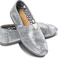 TOMS Metallic Silver Herringbone Women's Classics Slip-On Shoes,