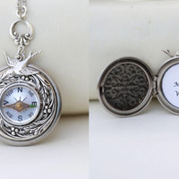 Locket Necklace,No Matter Where Compass locket,Jewelry,Pendant,Silver Locket,Antique Style,Jewelry Gift,Locket Necklace,Wedding Necklace