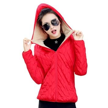 winter hooded fleece solid thin outerwear short zipper Jacket