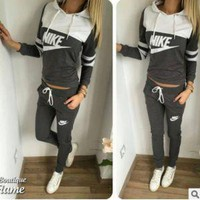 """NIKE"" Fashion Casual Multicolor Letter Print Long Sleeve Hooded Set Two-Piece Sportswear"