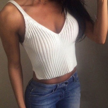New Fashion Knit Crop Tops Women Slim Sling Tank Top Camis Blouse Sport Vest (Color: White) = 1956714884