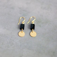 Faceted Black Onyx Dangle Earrings // Small Earrings, Black and Gold, Dainty Earrings, Handmade Everyday Earrings E023 by Indigo Lunch
