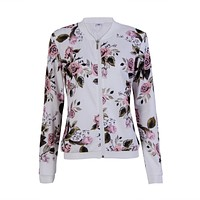 2018 New Arrival Women Casual Long Sleeve Jacket Overcoat Trench Parka Outwear Coat Floral Print Top Spring Autumn