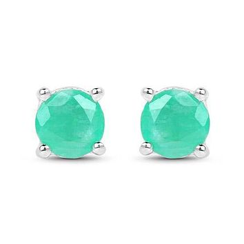 Beautiful Colombian Natural Mined 1.5CT Round Cut Green Emerald Stud Earrings