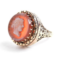 14K Gold Cameo Ring - Antique Size 9 Yellow Gold Fine Filigree Jewelry / Ivory on Salmon