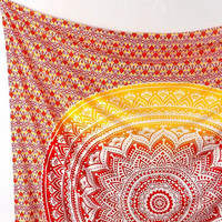 ORANGE FABRIC Psychedelic Mandala Bohemian Wall Tapestry Hippie Ombre Wall Hanging Throw Boho Mandala Bed Bedspread Bedding Home Decorative