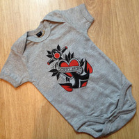 baby bodysuit / tattoo baby / old school anchor tattoo print / Gift for new moms / Funny body for kids, traditional tattoo / kids clothing