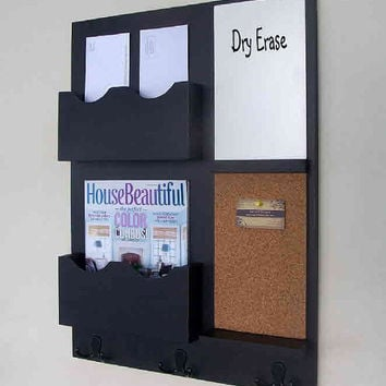 Mail Organizer - Cork Board - White Board - Key Hooks - Wood - Wall Hanging - Mail Holder - Letter Holder - Entry Way