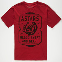 Alpine Stars Blood Sweat And Gears Mens T-Shirt Burgandy  In Sizes