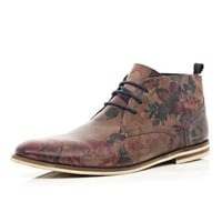 BROWN FLORAL PRINT CHUKKA BOOTS