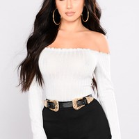 Christa Off Shoulder Top - White