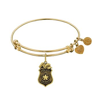 Police Officer Charm Expandable Bangle Bracelet, 7.25""