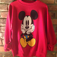 Vintage 1980s Red Mickey Mouse Crewneck Sweatshirt, Mickey & Co. Brand. Front and Back, Large Mickey Graphic. Size L, Fits Like Modern M.