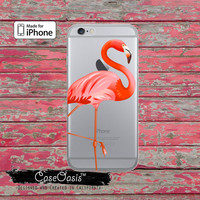 Pink Flamingo Bird Summer Tropical Cute Pop Art Clear Rubber Phone Case For iPhone 6 and iPhone 6 Plus + Transparent Crystal Custom Case