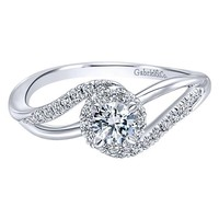 14K White Gold .41cttw Curved Split Shank Halo Diamond Engagement Ring