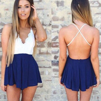 Lace Patchwork Backless Sexy Romper