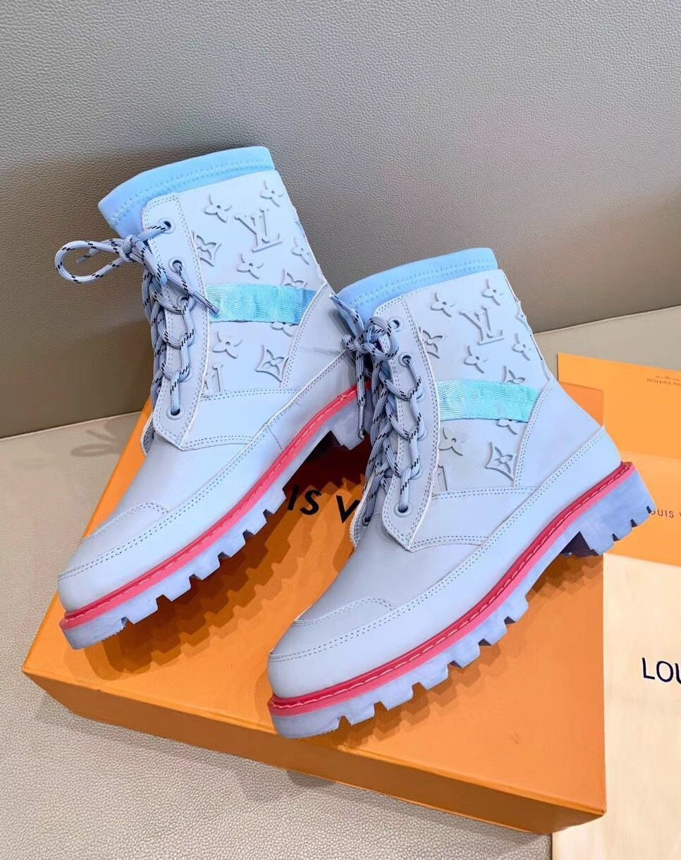 Image of lv louis vuitton trending womens men leather side zip lace up ankle boots shoes high boots 107