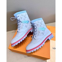 lv louis vuitton trending womens men leather side zip lace up ankle boots shoes high boots 107