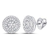 10kt White Gold Women's Diamond Concentric Circle Cluster Earrings 1/2 Cttw