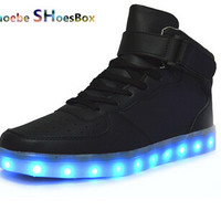 colorful LED shoes 2015 men women lights glowing fluorescent sneakers couple lovers running falts street dance shoes F009