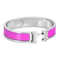Hermes men and women tide enamel Palladium wide palladium bracelet F Purple+Silver
