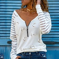 Long Sleeve Love Print V-neck Zipper Shirt Top Tee
