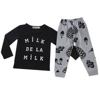 Fashion Newborn Baby Infant Boys Girls Outfits T-shirt Tops+Pants Kids Clothes Sets 2 Pcs S20