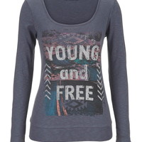 Young And Free Long Sleeve Tee - Gray