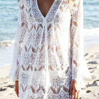 Long Sleeve Lace Cover Up