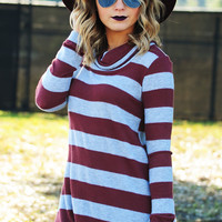 What's On The Inside Tunic: Burgundy/Gray
