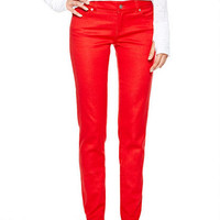 Olivia Low-Rise Jeggings in Red
