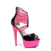 Ellie Shoes E-609-Adore 6 Neon Stiletto with Elastic Straps Blacklight sensitive