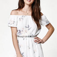 Kendall & Kylie Floral Print Off-The-Shoulder Romper at PacSun.com