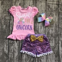 "2 pieces ""sparkle like a unicorn"" pink short sleeves lavender sequins gold bow pom-pom short set Summer outfits girl boutique"