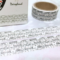 5M Cat meow meow washi tape Cute cat funny cat washi tape drawing cat kawaii pussy cat sticker tape cat diary cat planner gift decor
