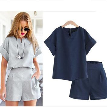 Plus Size Women's Fashion Summer Short Sleeve Tops Shorts [2070459940918]
