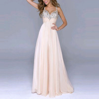 Newest Sexy Women Party Dress Sleeveless Sequin Prom Ball  Formal Gown Long Dress