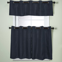 Modern Sublte Textured Solid Navy Blue Kitchen Curtains With Grommets Tiers   Overstock.com Shopping - The Best Deals on Curtain Tiers